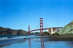 Golden gate bridge reflection (-Alberto_) Tags: zeissikon california carlzeiss 35mm goldengate reflection srl kodakportra
