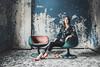 red zone (mr-71) Tags: girl fashion style brunette shoes red green walls blue abandoned portraits