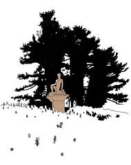 Main Cemetery, Karlsruhe, February 2018 (stevefaradaysketches) Tags: karlsruhe urbansketch inkdrawing grave hauptfriedhof cemetery pines snow