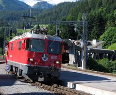 Rhätische Bahn, Switzerland - Ge 4/4 II No. 615 built in 1973 enters Klosters Platz Station with a train for Landquart on the 9th July 2008 (trained_4_life) Tags: rhb rhaetianrailway rhätischebahn ferroviaretica viafierretica switzerland graubünden grisons klosters