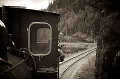 "Setesdalsbanen 3 (""Pande"") Tags: blackandwhite blackwhite bw monochrome machines travel train tourism streetphotography street people portrait pentax kristiansand museum old"