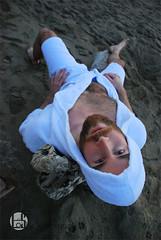 Davey (Levi Smith Photography) Tags: hairy hair muscle gay bath robe beach sand driftwood fashion shirtless chest beard eyes blueyes upsidedown cloth towel men mens hot handsome cute dude guy