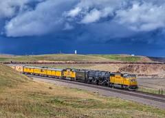 Big Boy at Granite, Wyoming (rolfstumpf) Tags: usa wyoming cheyenne granite railway railroad trains up up4014 bigboy sd70m emd sky clouds storm shermanhill steamlocomotive locomotives