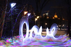 Love & Light (SOTC 274/365) (gina.blank) Tags: sotc edmonton rivervalley lightpainting longexposure slowshutterspeed lowlight night urban city light lanterns evening winter yeg outdoors colours colors trail path iceway love writing handwriting letters word