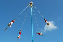 Mayan Sky Dancers (aaronrhawkins) Tags: tulum maya mayan dance dancer spin pole color costume native mexico ruin mayanriviera cancun rivieramaya yucatan peninsula caribbean blue sky vacation quintanaroo aaronhawkins