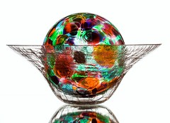 A Bowl of Glass (Karen_Chappell) Tags: glass bowl white stilllife orb sphere round circle ball multicoloured colourful colours colour color green orange purple red