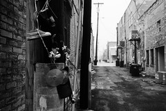 Alley art {54/365} (therealjoeo) Tags: alley shoe cd art taylor texas blackandwhite 365 365project
