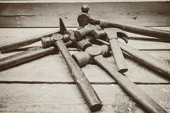 Vintage Thor (jah32) Tags: hammer hammers ballpeen claw vintage vintagetools monochromatic monochrome inthebasement findingmyinnercarpenter thor tools workbench