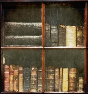 old books behind glass