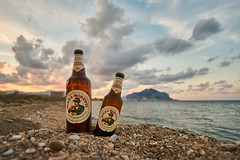 Sicilian beer (radkuch.13) Tags: sicily palermo beach bear sunset sea birra sony sonyalpha a6000
