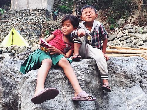Kids at Trishuli river, Nepal