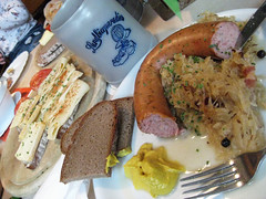 A Healthy German Dinner (PDX Bailey) Tags: food german germany meal dinner lunch sandwich bread fork cheeze beer mustard nuremberg sauerkraut