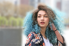 BLUE HAIR IN THE CITY (biboo-photography) Tags: biboophotography portrait hair blue melissa sexy city naturallight daylight model pars france mulato