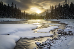 Golden Winter Embrace (andrewpmorse) Tags: canon 2470f28 leefilters leebigstopper lee09ndgradhard longexposure river water sunrise goldenhour gold banff banffnationalpark nationalpark nationalparks winter canada alberta landscape landscapes snow trees sun canon5dmarkiv 5dmarkiv cold