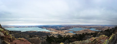 Lake views from Mount Scott (HeyItzDucky) Tags: mountain hills rolling lake lakes sky blue grey moody water clouds cloud cloudy oklahoma mount scott mountains brown panorama panoramic photography iphone iphoneography roads winding windy