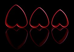 3 Hearts (Karen_Chappell) Tags: heart red black shape holiday valentine three 3 reflection valentinesday