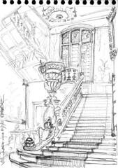 Villa Lumière, Lyon (Croctoo) Tags: croctoo croctoofr croquis crayon ville lumiere lyon escaliers