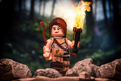 Tomb Raider (jezbags) Tags: tomb raider lara croft lego legos toy toys macro macrophotography macrodreams macrolego canon canon80d 80d 100mm closeup upclose tombraider laracroft fire rocks forest