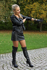 Anna 98 (The Booted Cat) Tags: sexy blonde hair model girl woman leather jacket gloves miniskirt nylon nylons pantyhose heels highheels boots overkneeboots