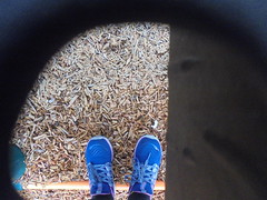 DSC00562 (classroomcamera) Tags: school campus playground play playing mulch shoes feet blue sneakers tied laces hole framing subframing black look selfie kid kids student students girl girls
