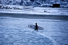 Surfing the Arctic Circle (Alex Szymanek) Tags: surf cold freeze norway lofoten beach blue waves canon markiii 70200 just do it impossible winter sport light determined zone life explore wanderlust travel true north far above go away simple landscape snow ice freezing zen chill look walk because why color colors february 2018 focus brave