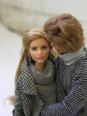 Some shades of grey ;) (ArtCat80) Tags: mattel collection finnick odair vodianova natalia barbie artcat doll photography dolly outdoor dolls snow sewing winter love games hunger grey