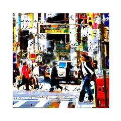 USE 7 AVE - NEW YORK (Luiz/Caio/Lukahak) Tags: use7ave avenue downtown cities people vans colors signs urbanart passersby digitalpainting newyork usa