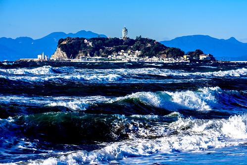 Enoshima view from the Shichirigahama beach in Kamakura