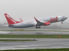 Jet2 Boeing 737-800 Taking Off From A Wet Manchester Airport (Gary Chatterton 4 million Views) Tags: jet2 boeing737800 737 manchesterairport wetrunway ggdfy airliner aircraft airplane jet plane passengerplane lowcostcarrier spray condensation airport canonpowershot flickr photography explore amateur
