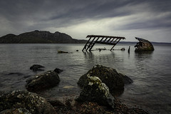 Wreck - Explore 300118 (cliveg004) Tags: wreck dayspring fishingvessel scotland westhighlands sea rocks clouds mountains torridon diabaig