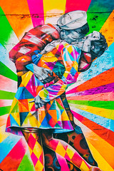 When a Man Loves a Woman (Thomas Hawk) Tags: america kobra manhattan nyc newyork newyorkcity usa unitedstates unitedstatesofamerica graffiti kiss streetart fav10 fav25 fav50
