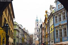 Mostecká Street and St. Nicholas Church (Nicolay Abril) Tags: praga praha prag prague prága česko českárepublika républiquetchèque tchéquie repúblicacheca chequia czechrepublic czechia csehország csehköztársaság tschechien tschechischerepublik baroque