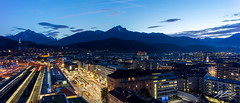 Life With Borders (Tim van Zundert) Tags: innsbruck tyrol austria europe bluehour sky panoramic panorama landscape mountains city cityscape night evening longexposure sony a7r voigtlander 21mm ultron