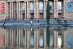 the Opera and Eckensee (Wackelaugen) Tags: eckensee opera stuttgart germany reflection water lake columns canon