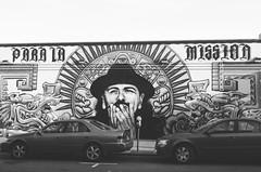 Santana for the Mission (Jaime Pérez) Tags: california usa blancoynegro sanfrancisco car coche blackandwhite grafiti mission eeuu us graffiti