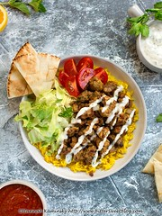 Halal Cart Tempeh Platter 1 (Bitter-Sweet-) Tags: vegan vegetarian meatless plantbased plantpowered tempeh protein middleeastern halal streetmeat platter shawarma spiced spices spicy rice whitesauce tahini hotsauce plate dinner meal hearty meaty halalguys food savory healthy cooking homemade recipe