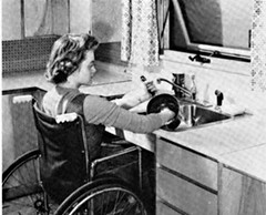 Wheelchair Washing Up (jackcast2015) Tags: handicapped disabledwoman crippledwoman wheelchair paraplegic paraplegicwoman blackandwhite monochrome