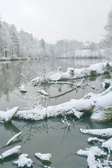 one day snow (Marc R. A.) Tags: snow light lake water castle see schnee cold wasser bärensee stuttgart winter germany low contrast fluffy