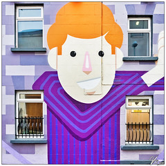 Untitled 00.68 (ViTaRu) Tags: canon 6d 1635mmf28l building facade house wall graffiti art streetart painting windows symmetry pattern face cartoon fence stripes smile saturation colors colorful purple square dublin ireland mural