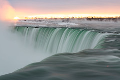 Horseshoe Falls at daybreak (Marc McDermott) Tags: niagarafalls river sunrise long exposure canada mist sun winter cold snow ice horizon clouds horseshoe