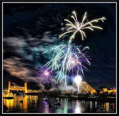 Fireworks_7677 (bjarne.winkler) Tags: 2017 new year firework over sacramento river with tower bridge ziggurat building background