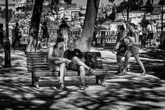 In the sunny shade (kozjar's Photography) Tags: streetphotography street couple tourists blackwhite digital simplelife shade shadows lights kozjar lisbon portugal