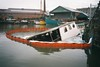 The Triton, shipwrecked (knautia) Tags: shipwreck triton underfallyard floatingharbour bristol england uk february 2018 houseboat film ishootfilm olympus xa2 fuji superia 400iso olympusxa2