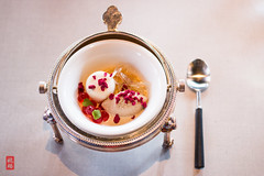No shark fin - chestnut ice cream, white chocolate mousse, cranberry pearls, apple glass noodles, dehydrated hawthornberry and eggnog (luyaozers) Tags: food restaurant michelin star dining lunch luxury chestnut ice cream white chocolate mousse cranberry noodles hawthornberry eggnog dessert