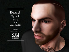 CARTEL-[SAM-TATTOOS]-HAIRFACE-BEARD-TYPE-I-BROWN (Sam Tattoos) Tags: aesthetic secondlife beard sam tattoos sl