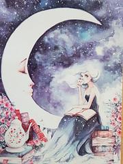Tea party Oksana Victorava (DymphieH) Tags: postcards offer2018 fantasy moon reading women blue