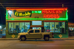 (el zopilote) Tags: albuquerque newmexico cityscape street architecture neon signs night powerlines wheels trucks chevrolet people canon eos 5dmarkii canonef24105mmf4lisusm fullframe elmodelo 500