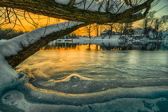 Frozen Sunrise (tquist24) Tags: bristol congdonpark hdr indiana nikon nikond5300 stjosephriver cold frozen geotagged ice longexposure park reflection reflections river sky snow sunrise tree trees water winter unitedstates