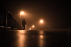 sometimes you need a walk throuh the night (Florian Grundstein) Tags: nightshot selfie walk misty fog bridge night silhouette bokeh sigma art light mood simple minimalistic nebel passionphotography