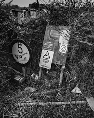 be advised (see it, shoot it) Tags: 2018 fujifilms5pro january tokina1116mm allotments neglected sign wirral birkenhead instruction command warning signpost rubbish allotment